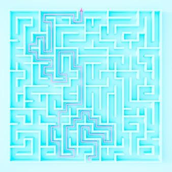 3d-рендеринг квадратного лабиринта в вид сверху на синем фоне.