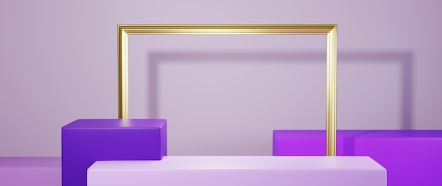 3d rendering of square podium in purple tones for displaying products and gold frame background. mockup for show product.