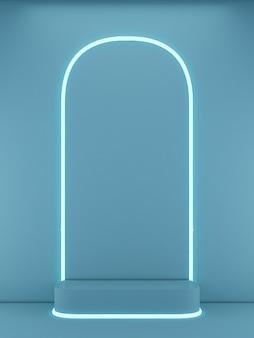 3d-рендеринг подиума квадратной формы на синем фоне и светлой линии