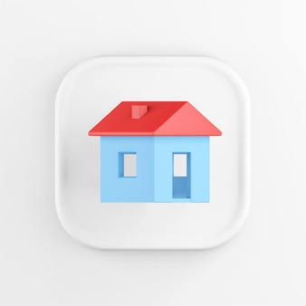 3d rendering square white button icon, blue house with red roof isolated on white background.
