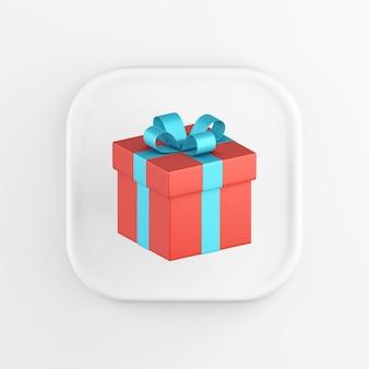 Значок кнопки белого квадрата рендеринга 3d, красный подарок с голубым бантом, изолированные на белом фоне.