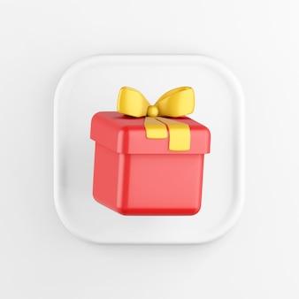 Значок кнопки белого квадрата рендеринга 3d, красный подарок с желтым бантом, изолированные на белом фоне.