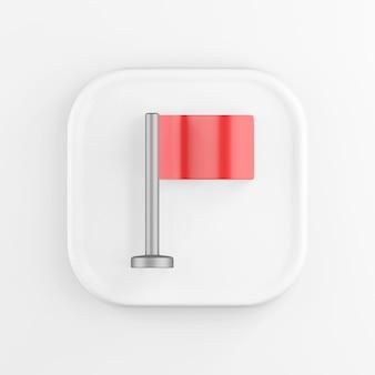 Значок квадратной белой кнопки 3d-рендеринга, красный флаг таблицы, изолированные на белом фоне.
