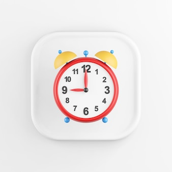 3d rendering square white button icon, vintage red alarm clock, isolated on white background.
