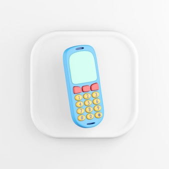 3d rendering square white icon button blue mobile phone key isolated on white background.