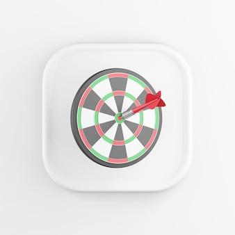 3d рендеринг квадратный белый значок кнопки дартс ключ со стрелкой, изолированные на белом фоне.