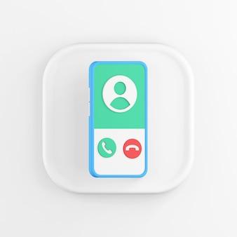 3d рендеринг квадратный белый значок кнопки ключевой синий смартфон на белом фоне.