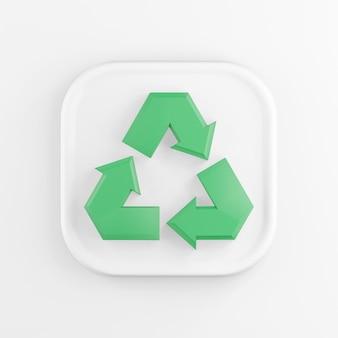 3d-рендеринг квадратный белый значок кнопки ключевой зеленый символ переработки, изолированные на белом.
