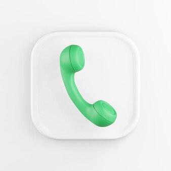3d-рендеринг квадратный белый значок кнопки ключевой зеленый старинный телефонный аппарат на белом фоне.