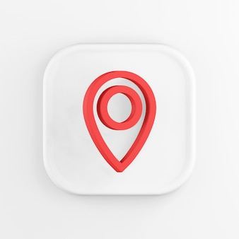 3d рендеринг квадратный белый значок кнопки ключевой красный символ местоположения на белом фоне.