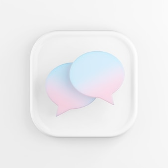 3d rendering square white icon button key round speech bubbles isolated on white.