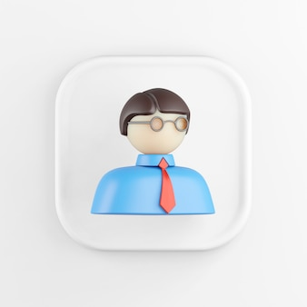 3d rendering square white icon button man isolated on white background.