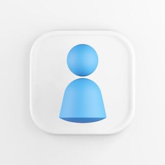 3d рендеринг квадратный белый значок кнопки человек символ, изолированные на белом фоне.