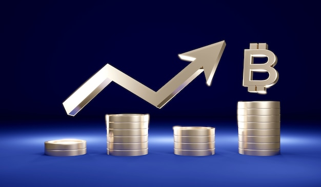 3d rendering stack of coins with arrow graph pointing up and bit coin symbol on background