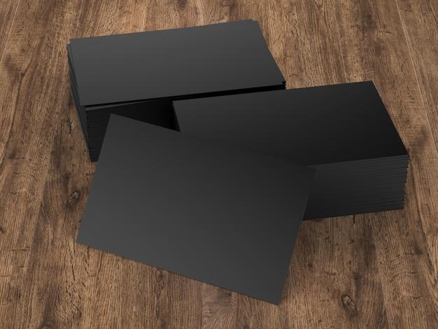 木製のテーブルに黒い名前カードの3dレンダリングスタック