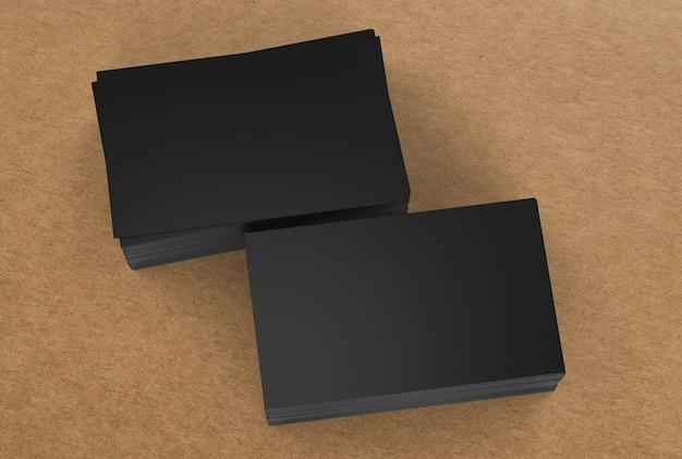 黒のネームカードの3dレンダリングスタック