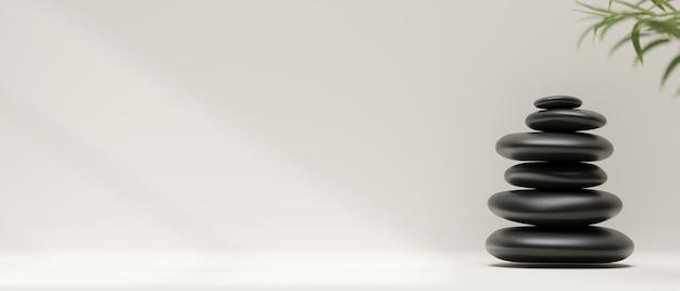 3d-рендеринг, стопка черной гальки или камней на белом фоне и копией пространства, 3d-иллюстрация, абстрактный фон