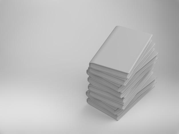 白い背景の上の空白の表紙の本の3dレンダリングスタック