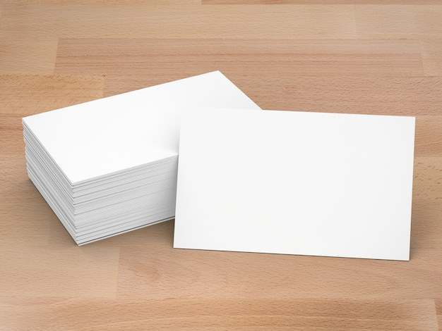 空白の名前カードの3dレンダリングスタック
