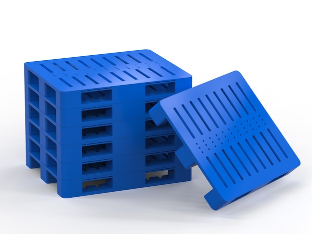 3d-рендеринг стека синих пластиковых поддонов на белом фоне