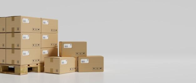 3d 렌더링, 흰색 배경, 3d 그림에서 창고에 골판지 상자 스택