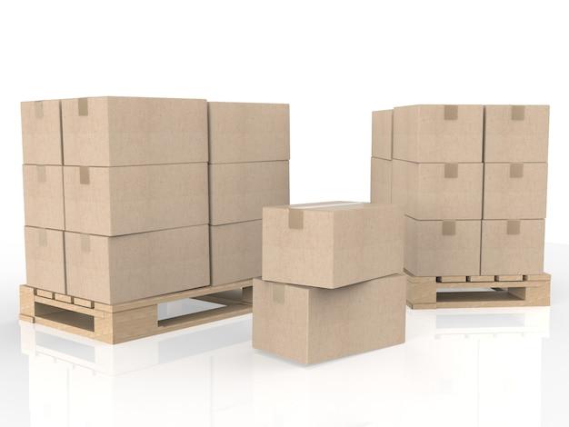木製パレット上の段ボール箱の3dレンダリングスタック