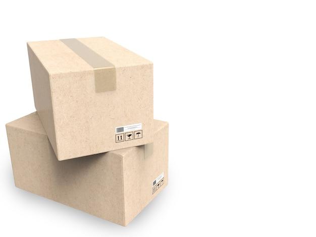 白い背景の上のカートンボックスの3dレンダリングスタック