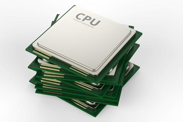 Cpu 칩 또는 마이크로칩의 3d 렌더링 스택