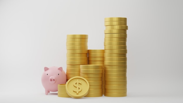 3d рендеринг. стек долларовых монет с розовой копилкой на белом фоне. идея для финансового и экономичного бизнеса.