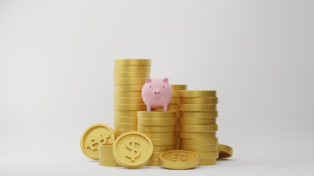 3dレンダリング。白い背景の上のピンクの貯金箱とドル硬貨のスタック。ビジネスの財政とお金を節約するためのアイデア。