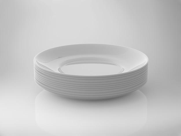 흰색 배경에 빈 흰색 접시의 3d 렌더링 스택