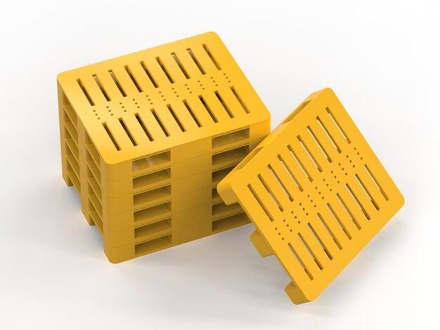 3d-рендеринг стека желтых пластиковых поддонов на белом фоне