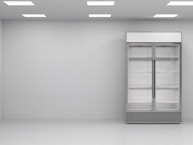 빈 방에 3d 렌더링 스테인리스 스틸 상업용 냉장고