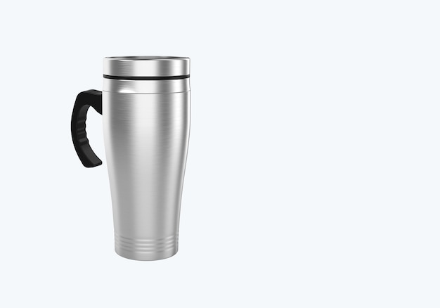 3d rendering stainless steel travel mug for coffee or tea isolated on white background. suitable for your mock up element project.