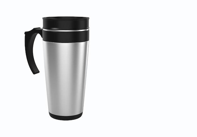 白い背景で隔離のコーヒーやお茶のための3dレンダリングステンレス鋼トラベルマグ。モックアップ要素プロジェクトに適しています。