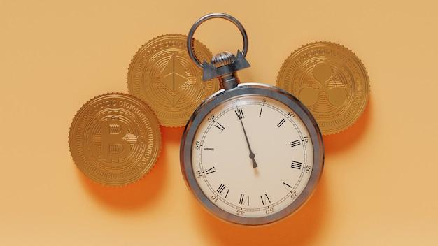 노란색 배경에 3d 렌더링 초시계 및 황금 암호화 동전.