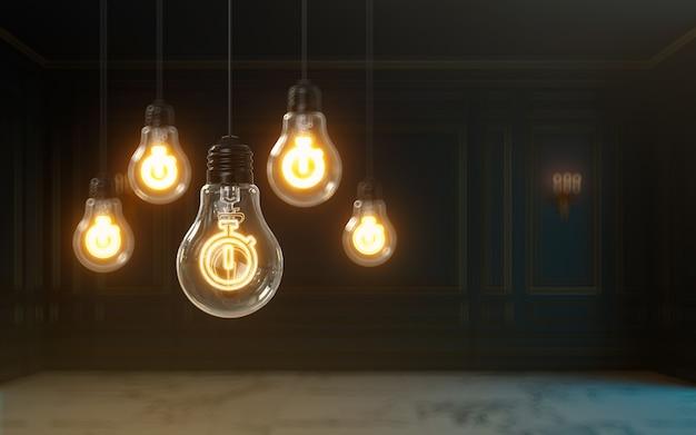 電球のプレミアムカバー写真の背景の中で3dレンダリングストップウォッチアイコンが光る