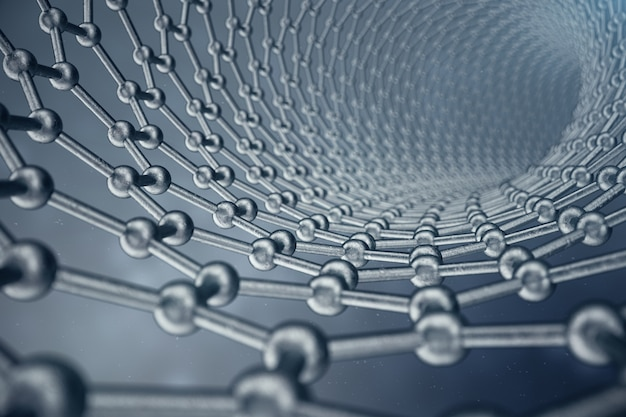 3d rendering structure of the graphene tube, abstract nanotechnology hexagonal geometric form close-up, concept graphene atomic structure, concept graphene molecular structure.