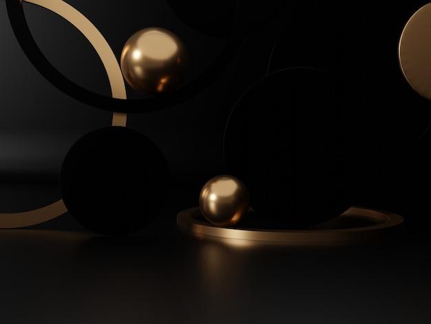 3d-рендеринг studio выстрелил фон дисплея продукта с пластинами и кольцами черных и золотых сфер
