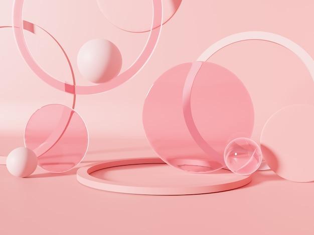 透明なピンクの球体を使用した3dレンダリングスタジオショット製品ディスプレイの背景
