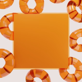 3d rendering studio shot product display or message board background with orange rings or buoy