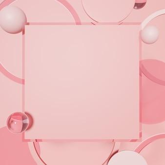 透明なピンクの球体を使用した3dレンダリングスタジオショット製品ディスプレイまたはメッセージボードの背景