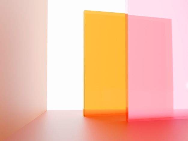 3d rendering studio shot vibrant or neon pink and orange transparent acrylic board overlapping