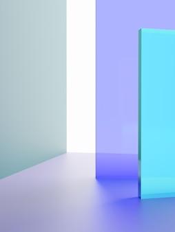 3dレンダリングスタジオショット活気のあるまたはネオンバイオレットとターコイズの透明なアクリルボードのオーバーラップ