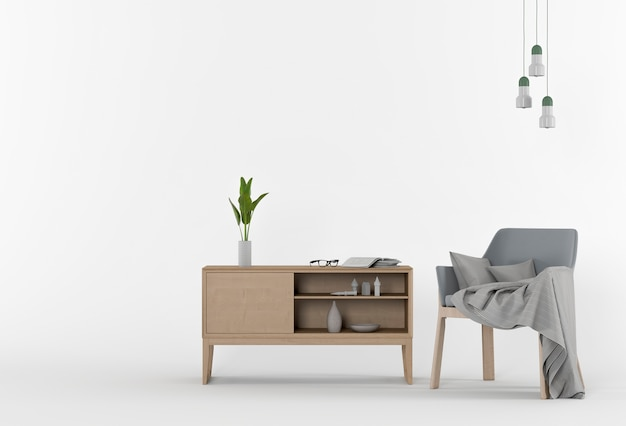 3d rendering of studio with armchair and decorations