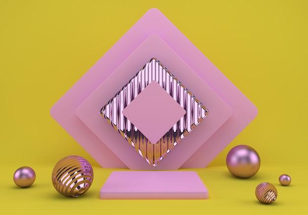 幾何学的形状の3dレンダリングスタジオ、床に表彰台