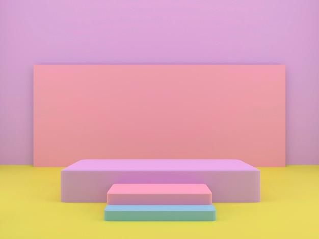 幾何学的形状の3dレンダリングスタジオ、床に表彰台。