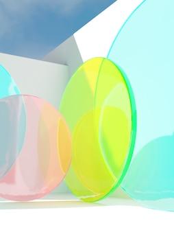 美容スキンケアとヘルスケア製品のディスプレイのための日光の背景の下での3dレンダリング夏のテーマ抽象サークルネオンアクリルプレート