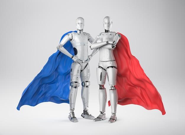 3d рендеринг супергероев-киборгов с красными и синими плащами