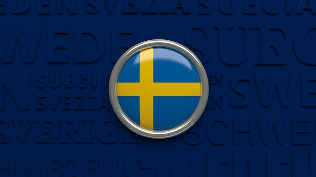 3d rendering of an sweden national flag glossy button over dark blue